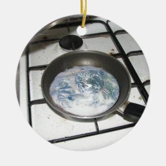 Fried Earth Round Ceramic Decoration