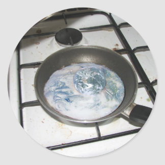 Fried Earth Round Sticker