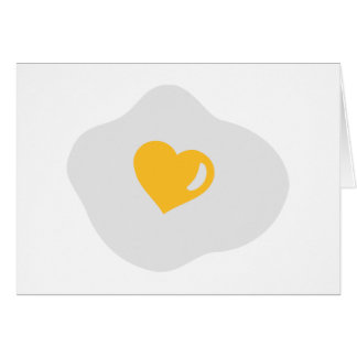 Fried egg love heart greeting card