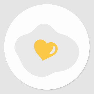 Fried egg love heart round sticker