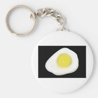 Fried Egg on Black Basic Round Button Key Ring