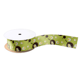 Fried Eggs Fun Food Design Satin Ribbon