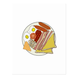Fried English Breakfast Plate Postcard