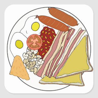 Fried English Breakfast Plate Square Stickers