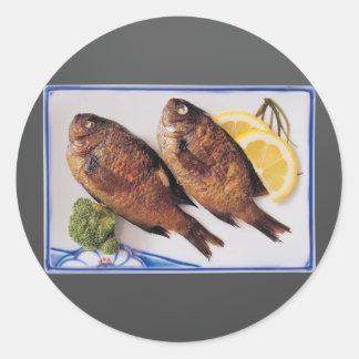Fried Fish Round Sticker