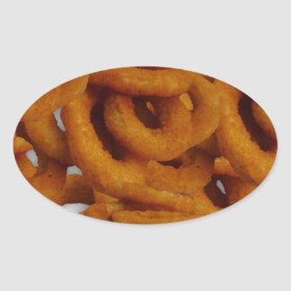Fried Golden Onion Rings Photography Oval Sticker