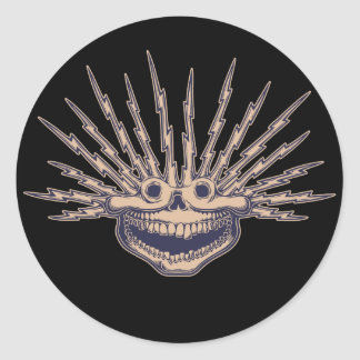 Fried Skull Round Sticker