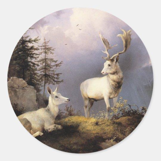 Friedrich Gauermann - Damwild (Fallow Deer), 1833 Classic Round Sticker