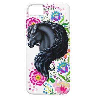 Frieisan stallion, folk flowers case for the iPhone 5