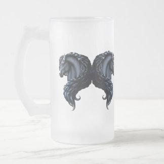 frieisna horse, stallion, folk flowers frosted glass mug