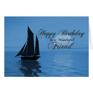 Friend a moonlight yacht birthday card