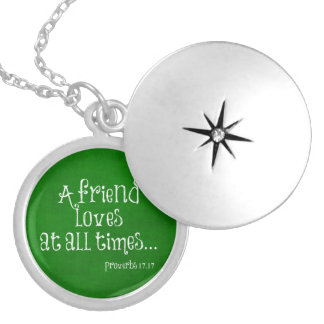 Friend Bible Verse Scripture Round Locket Necklace