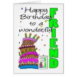 Friend Birthday Card, Crazy Cake, Cake Birthday Ca Greeting Card