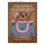 Friend Birthday Card - Cute Cat Purse Pet