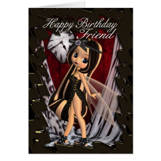 Friend Birthday card with moonies gothic fairy's