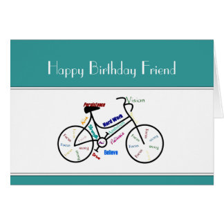 Friend Birthday Motivational Bike Bicycle Cycling Greeting Cards