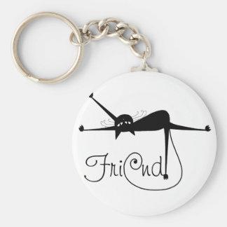 FRIEND - Black Whimsy Kitty 7 Basic Round Button Key Ring