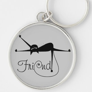 FRIEND - Black Whimsy Kitty 7 Silver-Colored Round Key Ring