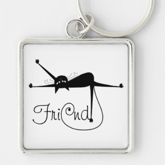 FRIEND - Black Whimsy Kitty 7 Silver-Colored Square Key Ring