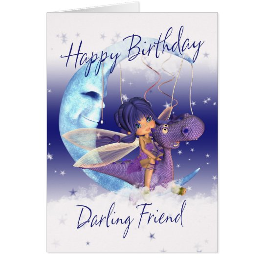Friend Cute Birthday card, purple dragon with fair