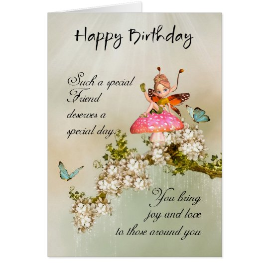Friend Fairy Birthday Card With Blossom