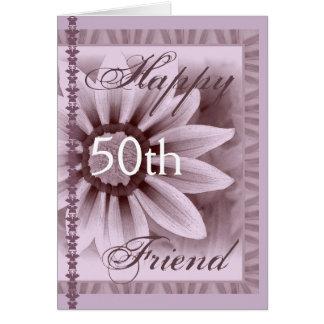 FRIEND  - Happy 50th Birthday - LAVENDER Flower Card