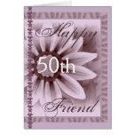 FRIEND  - Happy 50th Birthday - LAVENDER Flower Greeting Card
