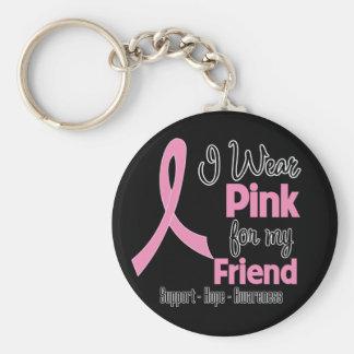 Friend - I Wear Pink - Breast Cancer Basic Round Button Key Ring