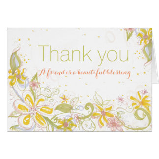 Friend is Beautiful Blessing Blank Thank You Greeting Card