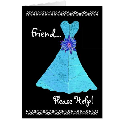 FRIEND Maid of Honour Invitation TURQUOISE Gown Greeting Card