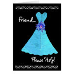 FRIEND Matron of Honour Invitation TURQUOISE Gown