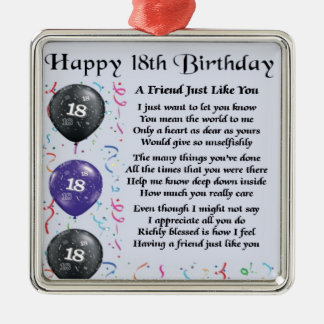 Friend Poem 18th Birthday Christmas Ornament