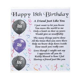 Friend Poem 18th Birthday Notepad