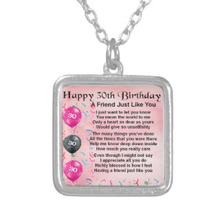 Friend Poem  -  30th Birthday Silver Plated Necklace