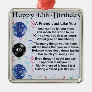 Friend Poem 40th Birthday Christmas Ornament