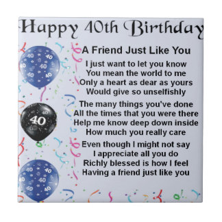 Friend Poem 40th Birthday Small Square Tile