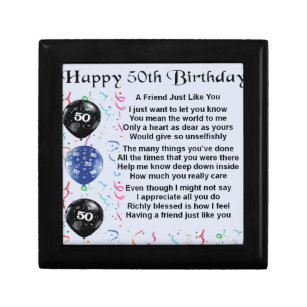 Friend Poem 50th Birthday Gift Box