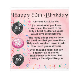 Friend Poem - 50th Birthday Notepad