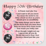 Friend Poem - 50th Birthday Stickers