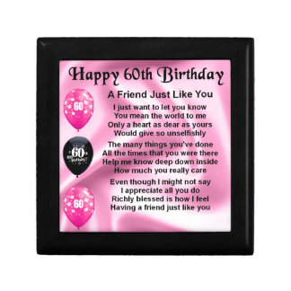 Friend poem - 60th Birthday Small Square Gift Box