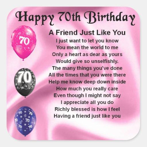 Friend poem - 70th Birthday Sticker