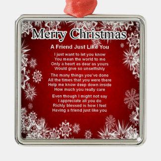 Friend Poem - Christmas Design Christmas Ornament