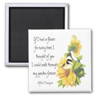 Friend Poem with Chickadee & Sunflower Garden Square Magnet