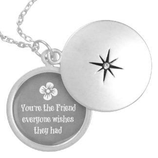 Friend Quote Round Locket Necklace