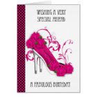 Friend Trendy Shoe And Rose Birthday Greeting Card
