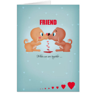 Friend Valentine's Day Kissing Dogs And Hearts Greeting Card