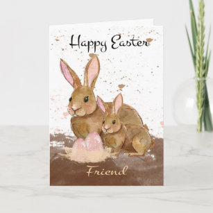 Friend, Watercolor Bunny Rabbits and Easter Eggs Holiday Card