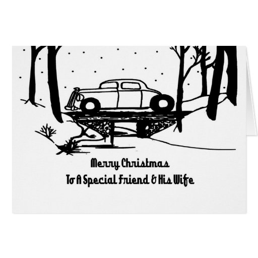 Friend & Wife Hot Rod Christmas Card