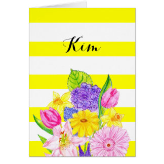 Friend Yellow Stripe and Floral Birthday Card