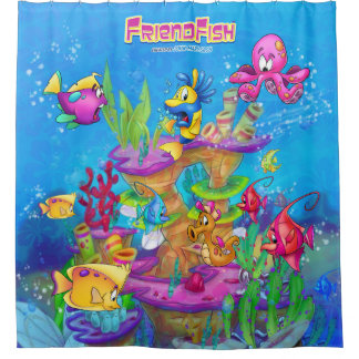 FriendFish cartoon shower curtain